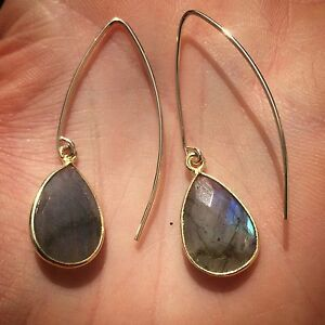 14K-Gold-filled-or-Sterling-Silver-Labradorite-Stone-Tear-Drop-Open-Hoop-Earring