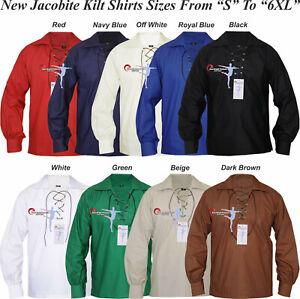 Grosses Soldes Écossais Ghillie Kilt Shirt 9 Couleurs Choix De Jacobites Jacobéen Tailles S à 6xl-afficher Le Titre D'origine Gagner Une Grande Admiration