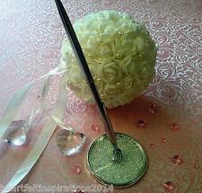 Silver Crystal Wedding/Engagement/Registry/Guest Book Pen Set - Black Ink