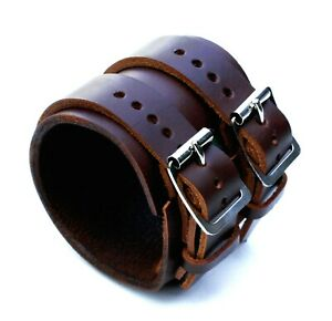 Brown-Leather-Cuff-Wristband-Bracelet-Double-buckle-adjustable-Handmade