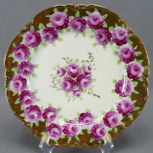 Nippon-Hand-Painted-Large-Pink-Roses-amp-Gold-Gilt-Dinner-Plate-Circa-1891-1921