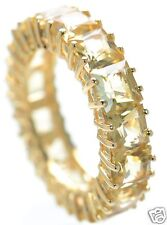 Gold Over Solid 925 Sterling Silver Citrine Eternity Band Ring Size-6 '