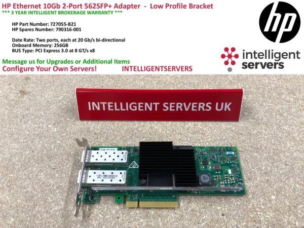 Discreet Hp Ethernet 10gb 2-port 562sfp+ Adapter - Low Profile - 727055-b21 / 790316-001
