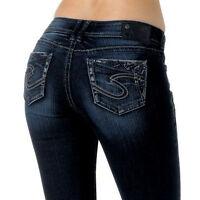 Silver Jeans $98 Suki 17 Curvy Womens 27 X 35 Long Tall Dark Boot Studs