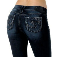 Silver Jeans $98 Suki 17 Curvy Womens 27 X 35 Long Tall Dark Boot Studs