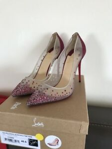 factory authentic 6be7b 25b9b Details about NEW CHRISTIAN LOUBOUTIN Follies Strass 100 Cassis Pink  Glitter Mesh Shoe EU40.5
