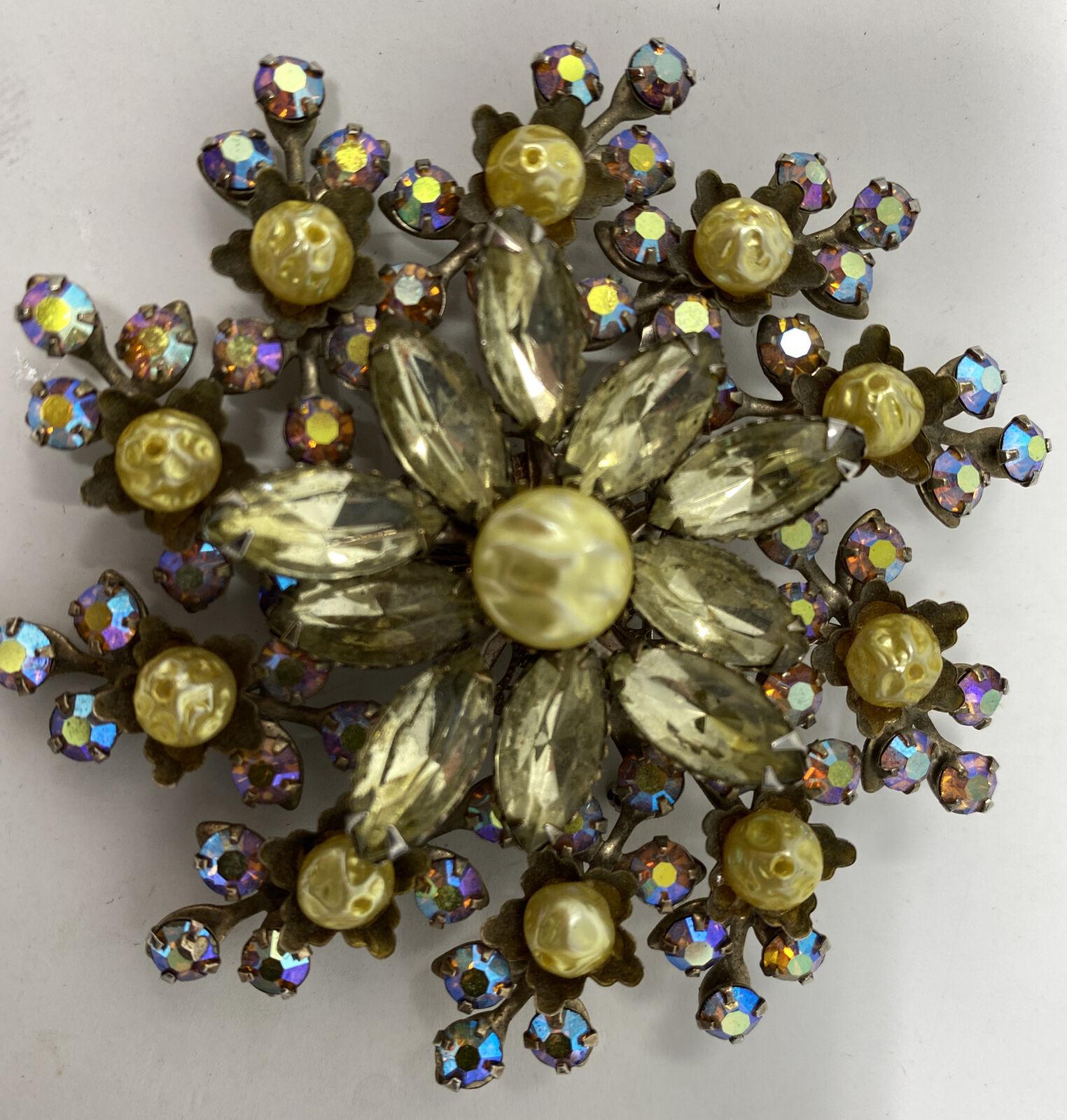 Sparkly Vintage Aurora Borealis AB Crystal Citrin… - image 3