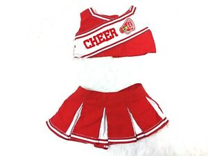 Build-A-Bear-cheerleading-outfit-skirt-and-top-red-white-BAB-CHEER