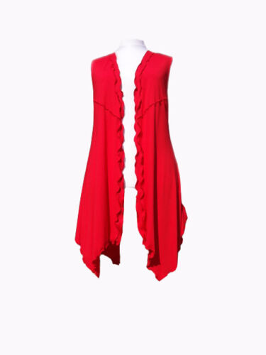 Longline Sleeveless Jersey Jacket  Made to order . C132 Designer Lagenlook,Red