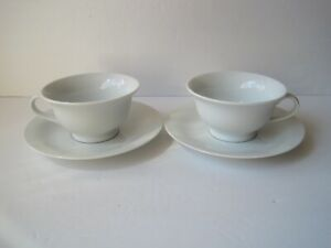 Pottery-Barn-PB-WHITE-Set-of-2-Tea-Coffee-Cups-amp-Saucers-Japan-Excellent