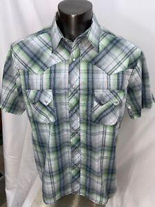 Wrangler-Mens-Western-Pearl-Snap-Short-Sleeve-Shirt-Size-XL-Green-Plaid