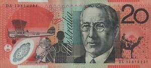 AUSTRALIA $20 BANKNOTE STEVENS PARKINSON LAST PREFIX DA13 CIRC with 3-4 CREASES
