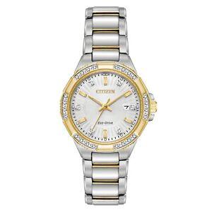 Citizen-Eco-Drive-Women-039-s-EW2464-55A-Riva-Diamond-Accents-Two-Tone-30mm-Watch