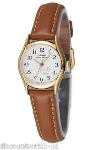 e07bb0a3a9996 Image is loading Casio-Women-039-s-Brown-Leather-Strap-Watch-