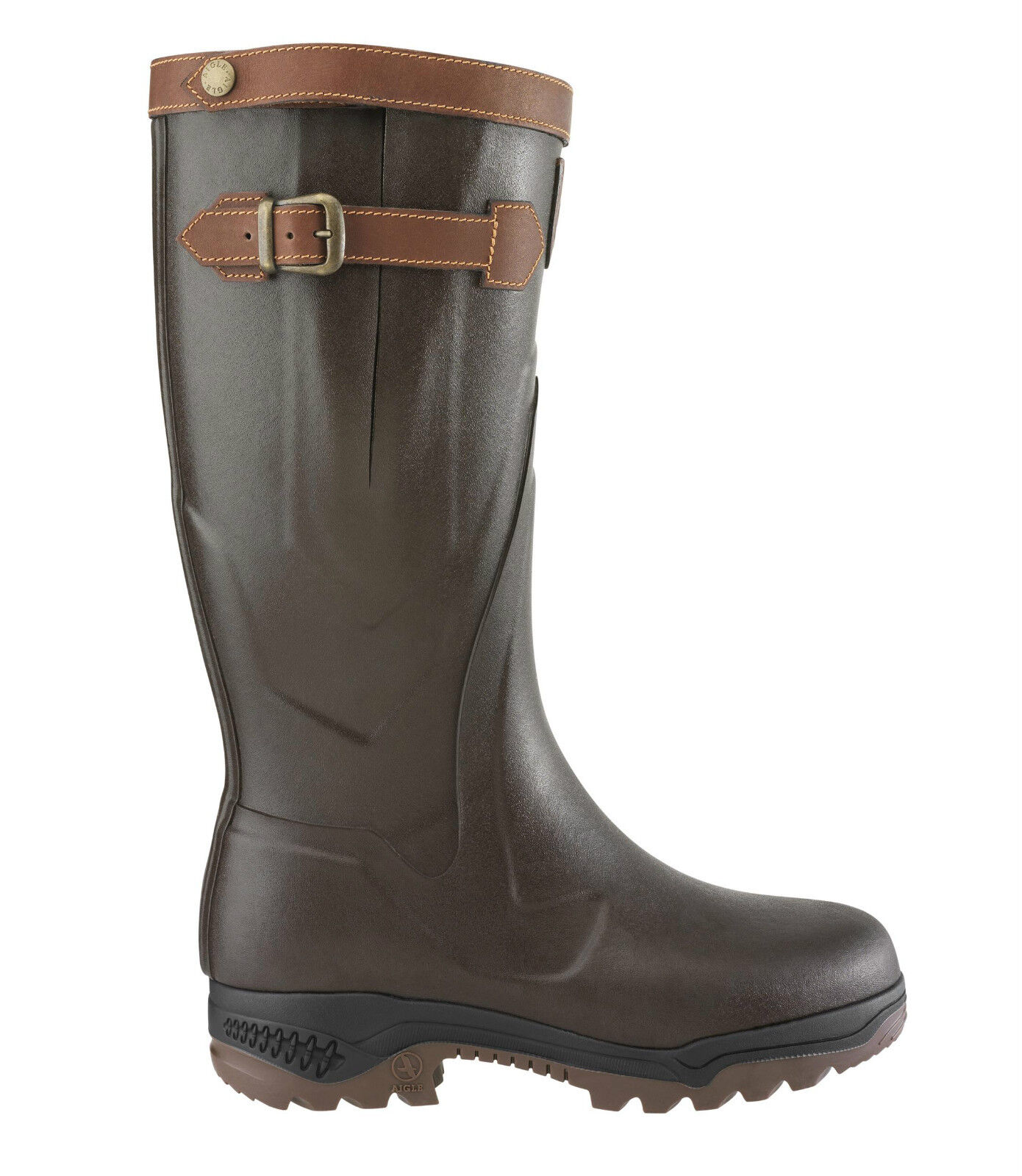Aigle rubber boots parcours 2 signature-all leather  - 84255 brun  best price