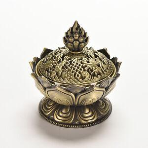 Folk-Chinese-Alloy-Copper-Lotus-Flower-Shape-Statue-Incense-Burner-Censer-LY