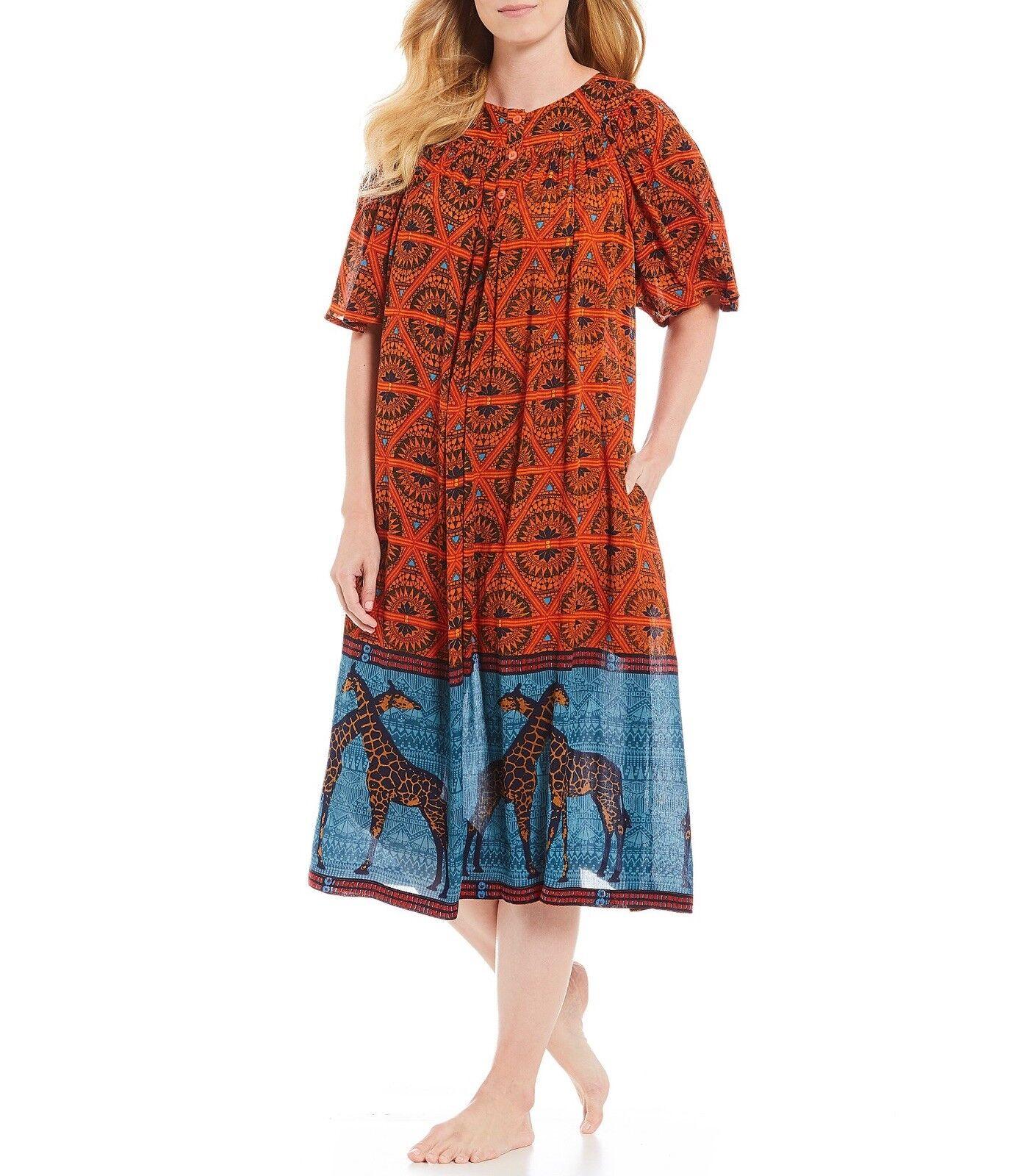 Go Softly Animal Print Crinkled Patio Dress Muu Muu Small S
