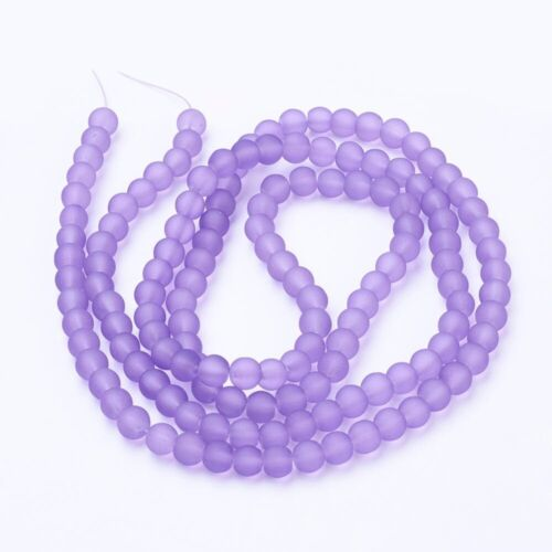 200 x 4mm Strand Purple Medium Frosted Glass Round Beads