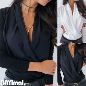Womens-Wrap-Deep-V-Neck-Long-Sleeve-T-Shirt-Ladies-Casual-Sexy-Slim-Blouse-Tops