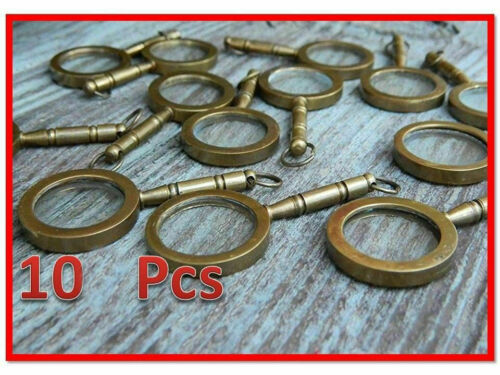 Lot of 10 Nautical Vintage Magnifier Key Ring Brass Magnifying Glass Key Chain