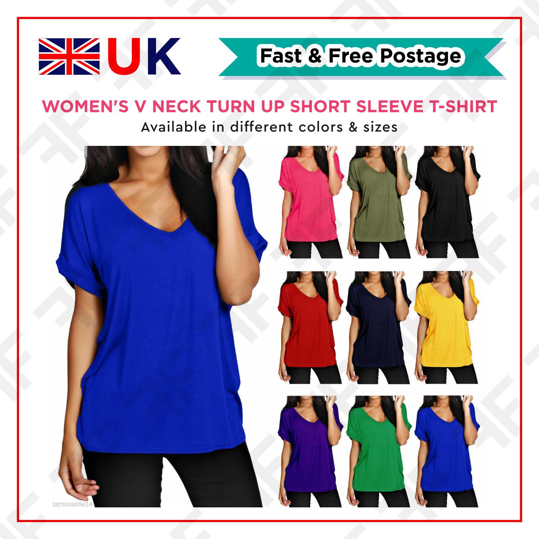 Frauen Plain Batwing Sleeve beilaeufige lose Baggy Tops T-Shirt Bluse B7G3