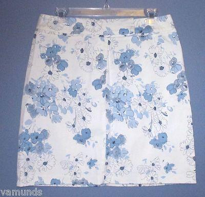 DALIA SPORT blue & white cotton floral mini spring A-line SKIRT size 8 Pretty