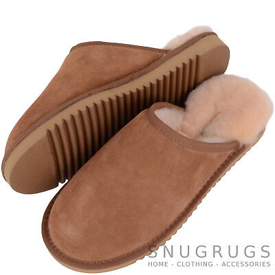 Snugrugs Mens / Womens Luxury Sheepskin Mule / Slipper With Hard Sole Chestnut