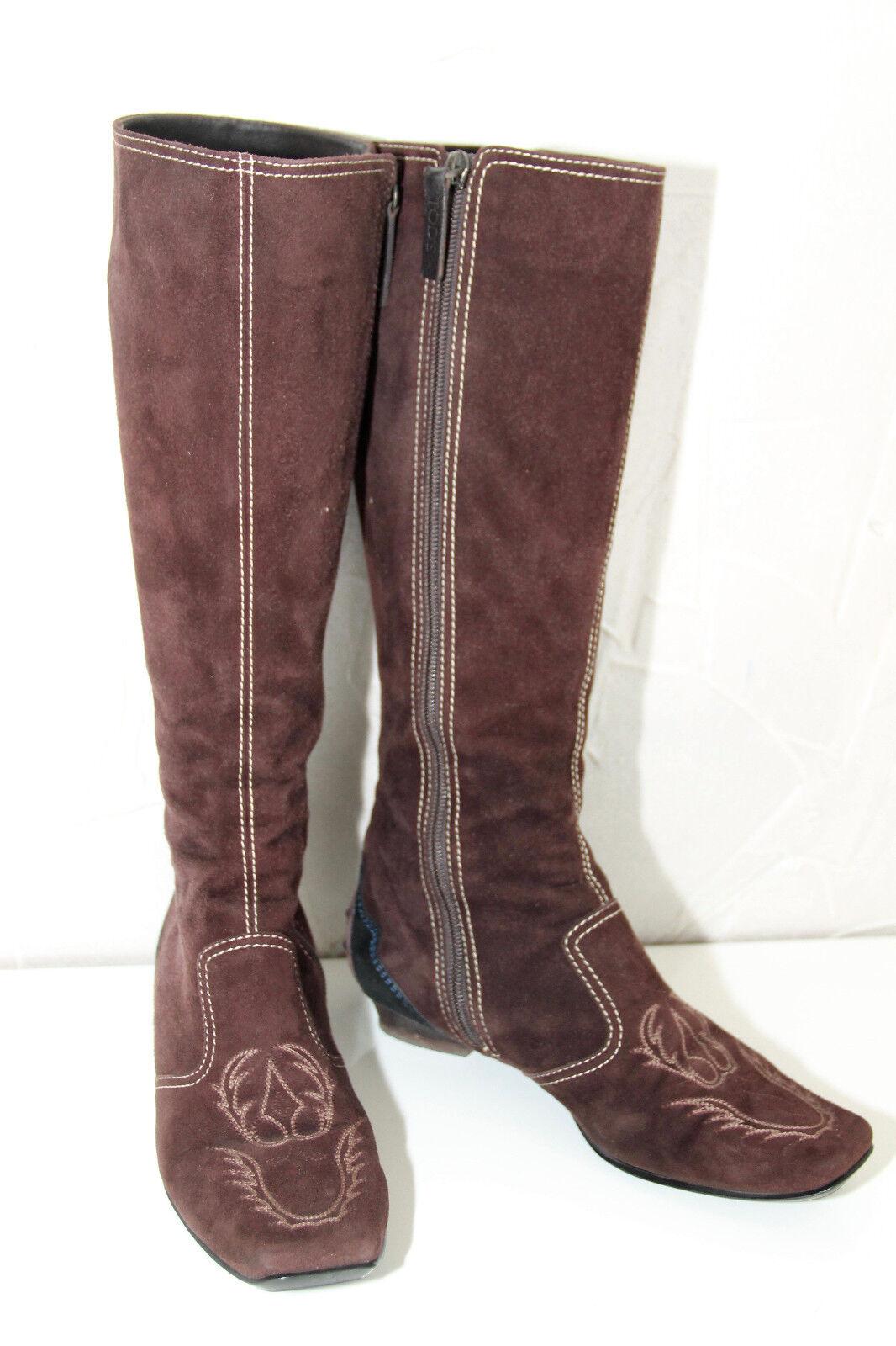 Lussuosi stivali con zip in pelle scamosciata marrone scuro TOD'S taglia 36