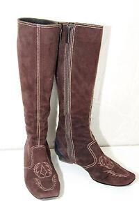 lujosos-botas-con-cremallera-de-ante-marron-oscuro-TOD-039-S-talla-36-CASI-NUEVO