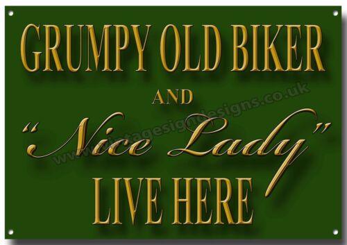 GRUMPY OLD BIKER AND NICE LADY METAL SIGN,MOTORCYCLE,GARAGE,HOME,HUMOR.