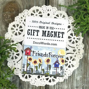 Friends-Forever-Sunflowers-Design-Gift-Magnet-USA-DecoWords