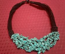 """HOWLITE GEMSTONE MULTI STRAND CHIP BEAD NECKLACE 16""""ON BLACK CORD-300 cts"""