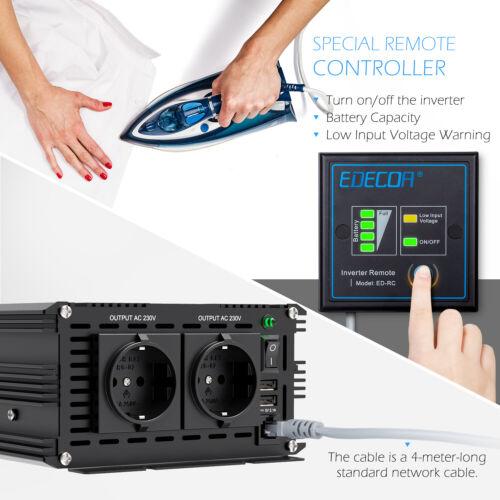 EDECOA Reiner Sinus Wechselrichter 12V 230V 1500W 3000W Spannungswandler Remote