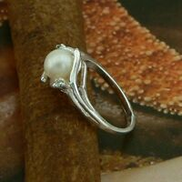 STERLING SILVER RING WITH A PEARL AND STONES SOLID .925  NICKEL FREE JEWELLERY
