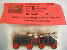 JEB Mfg HO Details: H101  2 painted Mail Carts with Bags - Catcher Pouches