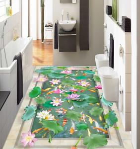 3D Lotus Pond 577 Floor WallPaper Murals Wallpaper Mural Print AJ AU Lemon
