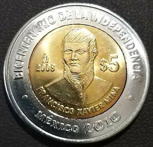 5 pesos Mexico 2009 km# 898 UNC Xavier Mina