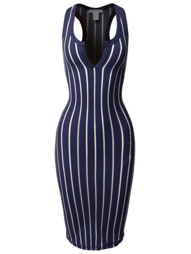 FashionOutfit Women/'s Pinstripe Sleeveless Open V-Neck Racer-Back Body-Con Midi