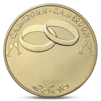 5 AFRICA BRASS CAMEROON CAMEROUN 2006 7500 CFA UNC 2 WEDDING RINGS