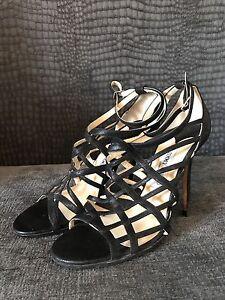 Black Choo Jimmy Eccellenti Uk Sandals condizioni una volta 5 6 indossate X1SwxZY