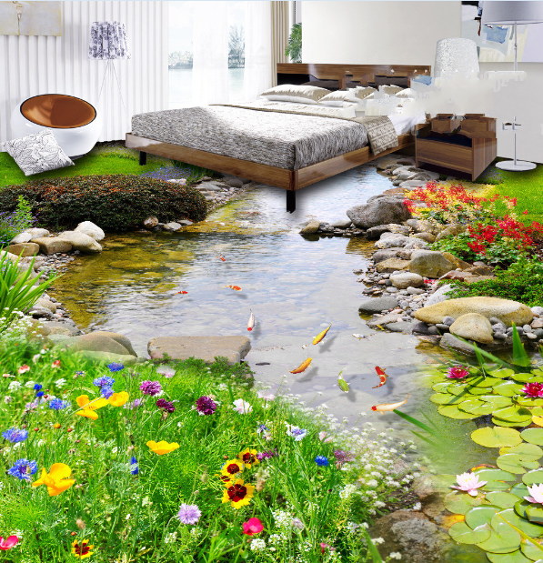 3D Stone Garden Pond 4 Floor WallPaper Murals Wall Print Decal AJ WALLPAPER US