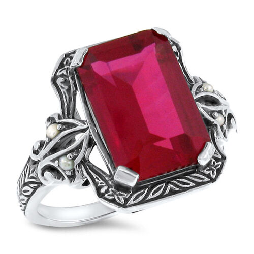5.5 CT RED LAB RUBY PEARL ANTIQUE VICTORIAN DESIGN 925 STERLING SILVER RING,#488