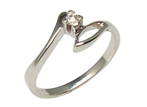 Engagement-Ring-Solitaire-White-Gold-18-Carats-Women-039-s-with-Diamond