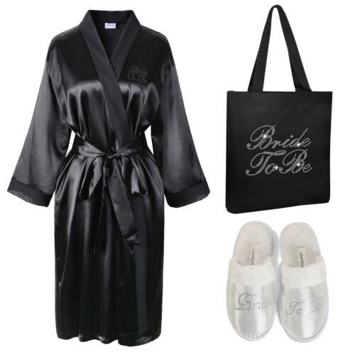 Pantoufles Kimono Satin Cristal Fourre Be Bride Sac Spa Peignoir To tout ABBzH