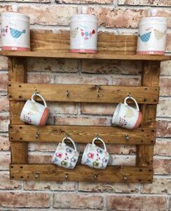 Image Is Loading Wall Mug Rack Holder Reclaimed Wood Pallet Wood
