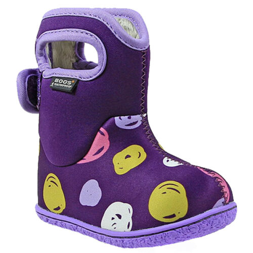 GIRLS BABY BOGS DOTS PURPLE GREY INSULATED WASHABLE WARM WELLIES BOOTS 721691