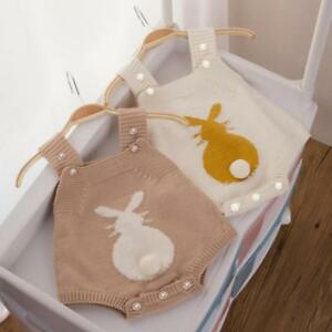 92b27ddd4c9d Newborn Infant Baby Boy Girl Rabbit Romper Knitted Bunny Jumpsuit ...