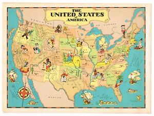 Details about GENUINE RUTH TAYLOR VINTAGE UNITED STATES MAP CARTOON STATE  CAPITALS 1935 USA