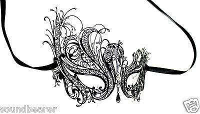 Swan Laser Cut Venetian Masquerade Metal Filigree Black Mask w/ Rhinestones