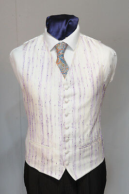 W - 1022 Ivory Waistcoat Purple Thread Pattern / Suit / Party / Formal Harmonische Farben